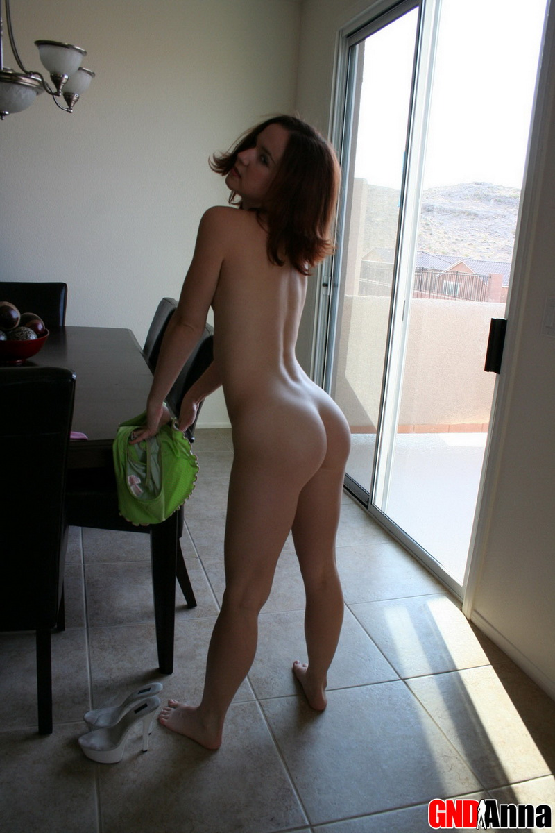 Girl next door Anna strips out of her skimpy little bikini exposing her perfect round ass