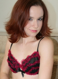Petite Girl Next Door Babe Anna Teases With Her Red Ruffled And Sheer Bra And Panties - Picture 3