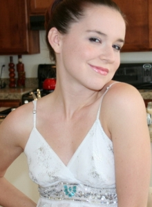 Cute Girl Next Door Anna Shows Tight Perky Body Sparkly Little White Dress - Picture 3